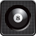Eight ball in black checkered web button Royalty Free Stock Photo