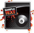 Eight ball on black halftone banner Royalty Free Stock Photo