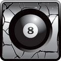 Eight ball gray cracked web button Royalty Free Stock Photo