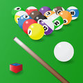 Eight-ball pool. Balls position, cue and a piece of chalk