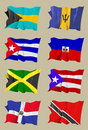 Eight Caribbean flags Royalty Free Stock Image