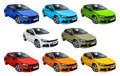 Eight cars set volkswagen scirocco isolated on a white background Stock Photos