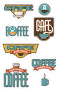 Eight coffee and cafe emblems set of design elements Stock Photos