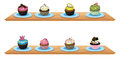 Eight cupcakes at the wooden shelves illustration of on a white background Stock Images