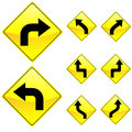 Eight Diamond Shape Yellow Road Signs Stock Images