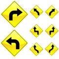 Eight Diamond Shape Yellow Road Signs Royalty Free Stock Photo