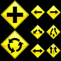 Eight Diamond Shape Yellow Road Signs Set 2 Royalty Free Stock Photo