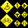Eight Diamond Shape Yellow Road Signs Set 3 Royalty Free Stock Photo