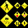 Eight Diamond Shape Yellow Road Signs Set 4 Royalty Free Stock Photo