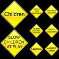 Eight Diamond Shape Yellow Road Signs Set 5 Royalty Free Stock Images