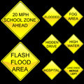 Eight Diamond Shape Yellow Road Signs Set 7 Stock Images