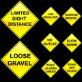 Eight Diamond Shape Yellow Road Signs Set 8 Stock Photography