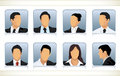Eight faceless heads of businesspeople Stock Photography