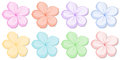 Eight five-petal flowers in different colors Stock Images