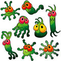 Eight green germs with tentacles Stock Photography