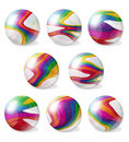 Eight illustrated rainbow marbles collection Royalty Free Stock Photo