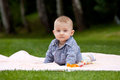 Eight months old baby boy lying grass Stock Photo