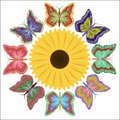 Eight motley beautiful butterflies and a bright flower