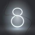 Eight neon sign white-01 Royalty Free Stock Photo