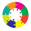 Eight piece jigsaw wheel in different colors Stock Image