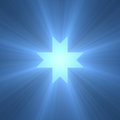 Eight pointed octagram star light flare points royal blue cross with powerful holy flares extended for the flexibilities of Royalty Free Stock Images