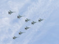 Eight powerful Su-30 fly Royalty Free Stock Photo