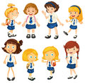 Eight schoolgirls in their uniforms illustration of the on a white background Stock Photography