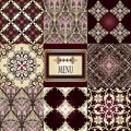Eight seamless patterns and frame Royalty Free Stock Photo