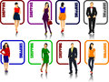 Eight shopping icons with man and woman image Royalty Free Stock Photo