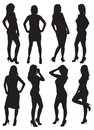 Eight silhouettes of beautiful girls Royalty Free Stock Images