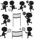 Eight sportive kids black silhouettes Royalty Free Stock Photo