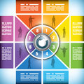 Eight stage color changing workflow chart Royalty Free Stock Photography