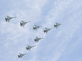 Eight Su-30 flying in the sky Royalty Free Stock Photo