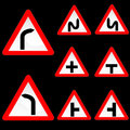 Eight Triangle Shape Red White Road Signs Set 1 Stock Image
