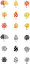 Eighteen autumn tree icons of the trees of colored leaves suggesting Royalty Free Stock Photo