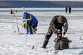 Eighth world ice fishing championship in kharkiv region ukraine on february Stock Photos