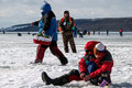Eighth world ice fishing championship in kharkiv region ukraine on february Stock Photography