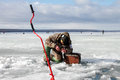 Eighth world ice fishing championship in kharkiv region ukraine on february Stock Images