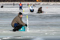 Eighth world ice fishing championship in kharkiv region ukraine on february Royalty Free Stock Image