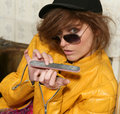 Eighties fashion metaphor woman yellow jacket Royalty Free Stock Photo