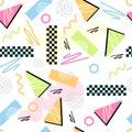 Eighties seamless pattern vector classic light pastel s grid illustration Royalty Free Stock Photos