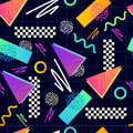 Eighties seamless pattern vector classic s grid illustration Royalty Free Stock Photos