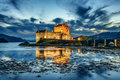Eilean Donan Castle in Scotland during blue hour Royalty Free Stock Photo