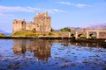 Eilean donan castle scotland famous in the highlands of with reflections Royalty Free Stock Image
