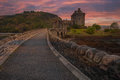 Eilean donan castle scotland scottish situated at loch duich near dornie in western part of sctottish highlands connected with the Royalty Free Stock Photos