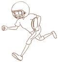 Ein athlet des amerikanischen fußballs Stockbild
