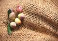 Ein Fragment eines geknoteten Sacks mit Oliven Stockfotografie