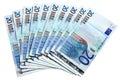 Ein Gebläse von 20 Euroanmerkungen. Lizenzfreies Stockbild