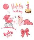 Ein Set von neugeborenem (für Mädchen) Stockbild