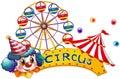 Ein zirkusschild mit einem clown und einem zelt Stockbilder